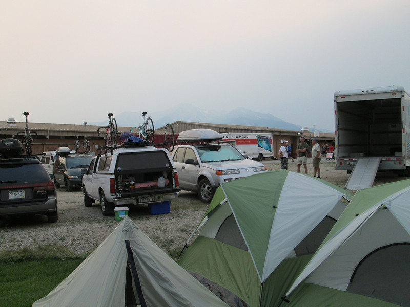 Its hard to make out, but that's Mount Princeton in the background, lots of smoke from the Gorge fire rolled in late in the day.  This in Buena Vista at the end of Day 1