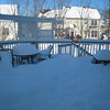 Day after snow on the deck... where's the picnic table bench? :)