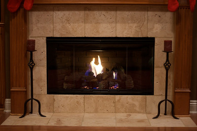 Fireplace with doors and fire!