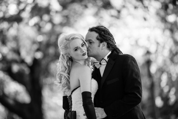 Blonde Bride Black and White Photography