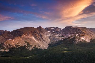 """Trail Ridge Drama""  A Dramatic sunset over Mt. Julian and Mt. Ida in Rocky Mountain National Park"