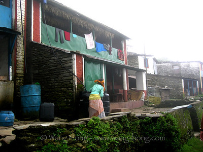 In a foggy morning at Sarangkot, Pokhara, Nepal, summer 2007