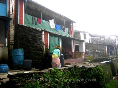 In a foggy morning at Sarangkot, Pokhara, Nepal, summer 2007