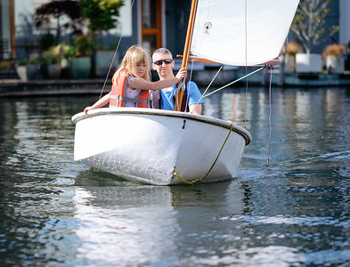 Jim and Greta sailing the dyer dhow dinghy, April 2016