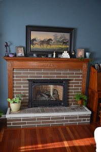 Custom fireplace mantel and gas fireplace.