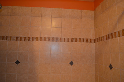 Custom tile tub surround in master bath.