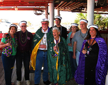 "the new ""Royal Court"", L>R Judi, Harry, Capt Dan, First Mate Carleen, Alex, Sarah, Neil, & Trish"