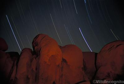 Falling Stars and Campfire Joshua Tree National Park