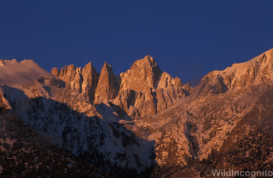 Mount Whitney Alpenglow Winter Snow