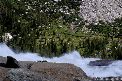 High Country Waterfall into Meadow