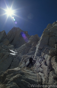 Climber starting the East Face Mount Whitney