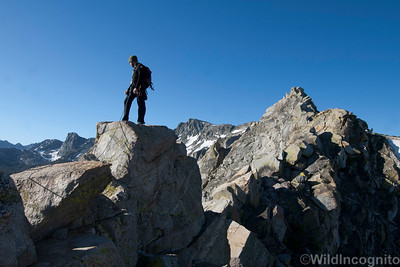 Climber on the summit of Crystal Crag Mammoth Lakes