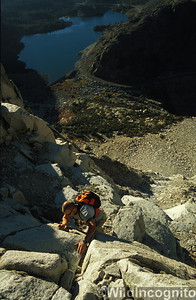 Climber on ridges over Ellery Lake Tioga Pass