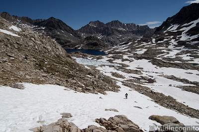 Hiker on Snowfields below Muir Pass