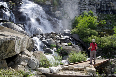 Hiker and Waterfall