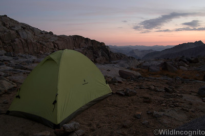 Last Light and Tent in the Palisades Basin