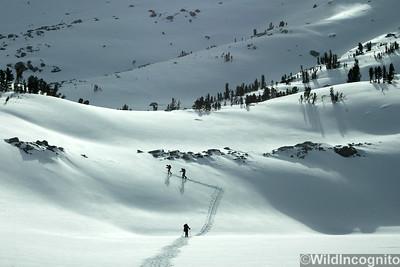 Skiers Making Tracks Gable Lakes