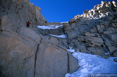 Descending the top chute of the Mountaineer's Route