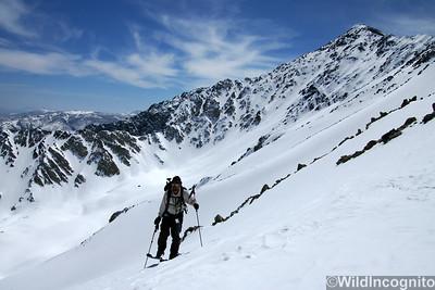 Skier climbs Elderberry Canyon  Mount Tom