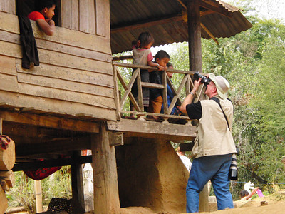 Harry in a village along the Mekong River in Laos