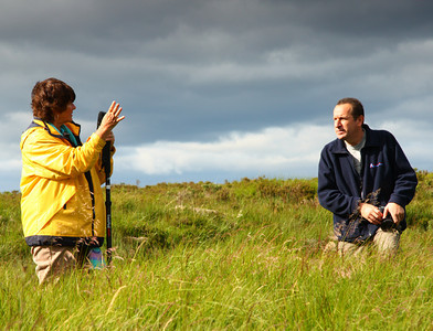 Judi getting assistance from our professional guide in Scotland