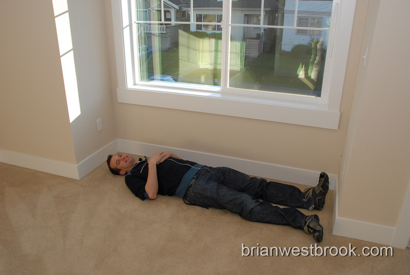 "Is it me, or did Brian ALREADY fall asleep in the master bedroom?  (I'm 5'12"" if you were wondering, the opening under the window is slightly larger than that.  Perfect for a bed."