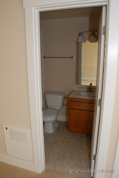 Here's the bathroom off the guest room.  There's a tub in it too... perfect for guests.  This bathroom has an extra bonus feature:  It stops working after a guest has been there 3 days... crazy!