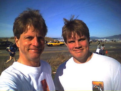 Another photo taken after the end of the San Fransicso Half Marathon in February 2006. My younger son Jim and I ran together and did 13.1 miles (the standard half marahton distance) in 2 hours, 3 minutes and 45 seconds. (cell phone camera photo)