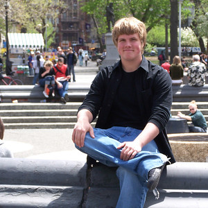 Son Jim sitting on the Edge of the fountain at Washington Square Park in New York. Washington Square lies at the center of the campus area of New York University. Of the twelve schools he applied to, and eight at which he was accepted, his final choice came down to NYU and Boston College. He'd never been to NYU, so we made a quick trip during the last weekend before the May 1, 2006 decision deadline. He ultimately chose BC.