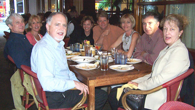 "June 2006 Movie Club group at Straits Cafe in Santana Row. Left to right: Ron, Martha, Dave, Mary, Davis, Margaret, Rich and Glenda. We saw ""Prairie Home Companion."""
