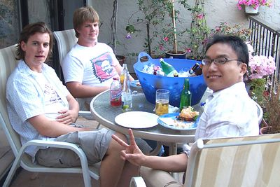 Students from three corners of the world. 48 hours before this photo was taken, Erik (left) was honme in Stockholm, Sweden but was now starting his freshman year at Stanford. Son Jim (middle) already lives here, and Dawei (right) was just a few hours off the plane from China on his first trip to the US, and preparing to start doctorate work at Stanford. Photo taken at friend Ron's house in Menlo Park