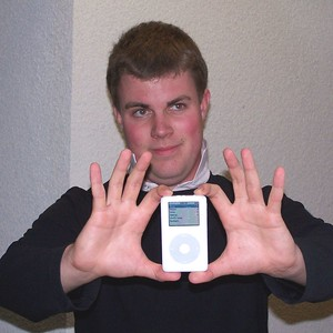 Son Davy with an iPod. He worked during the summer of 2005 at the Apple Store in the Valley Fair mall in San Jose, California