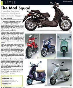 Recent scooter publicity from the San Jose WAVE magazine