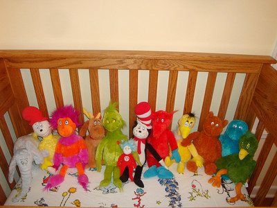 Our Dr. Seuss plush animal collection so far.  We started collecting these more than two years ago.