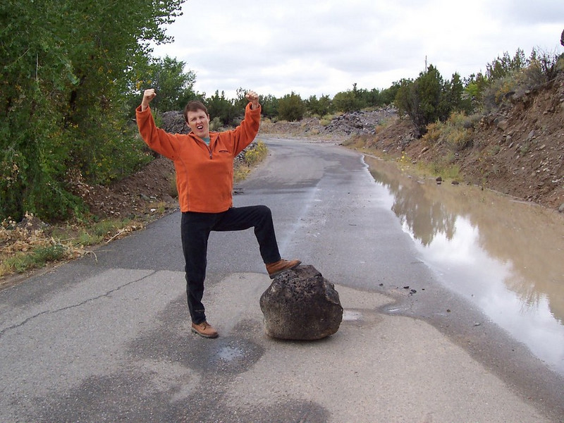 A few weeks before moving, a rainstorm washed this boulder into the road near the old house.