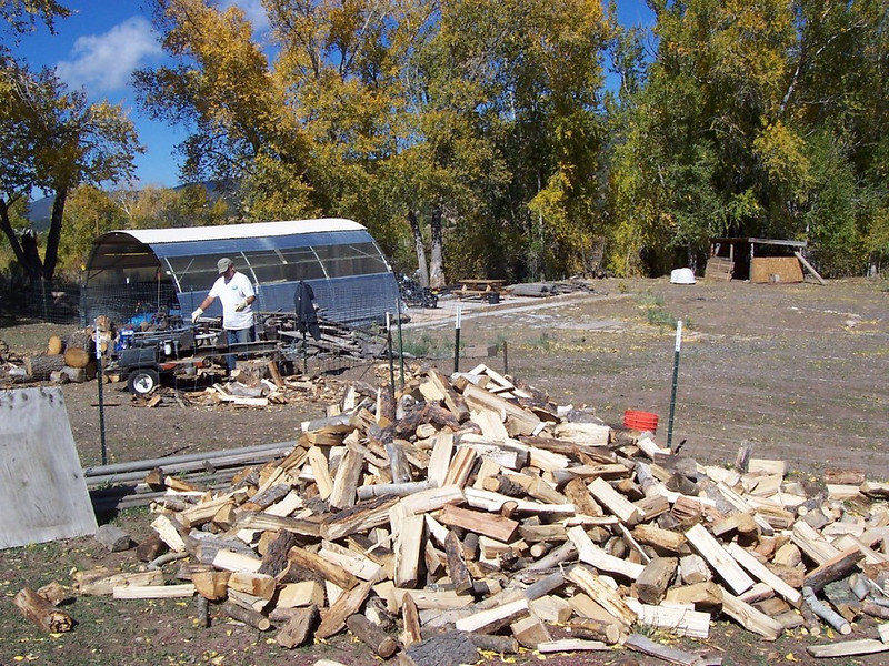 Splitting wood for winter. We ended up with about 2.5 cords.