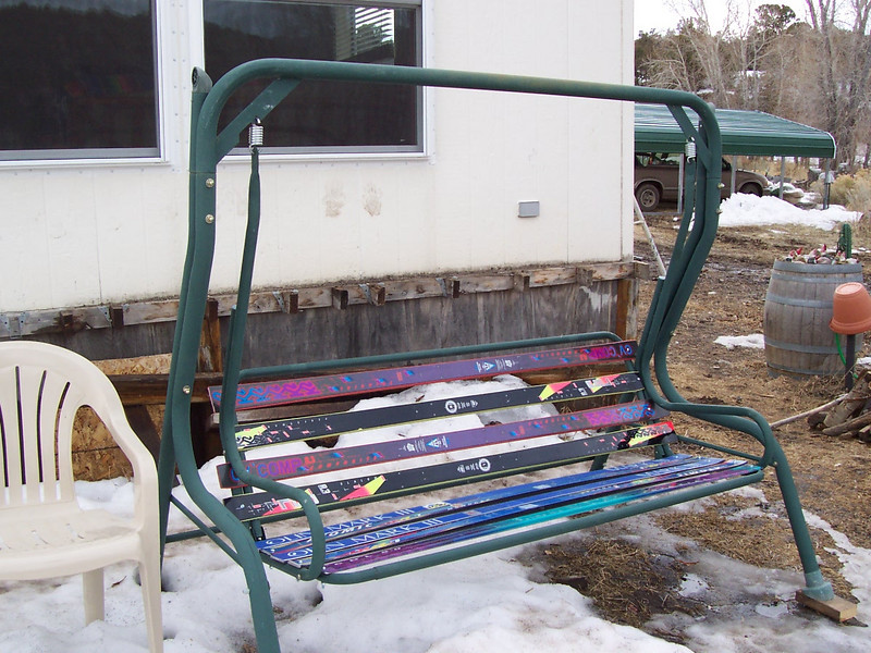 A garden swing Chris made from old snow skis.
