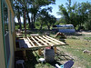 A full view of the finished frame and floor joists. The plywood panels are so the dogs and cats can use the back door.