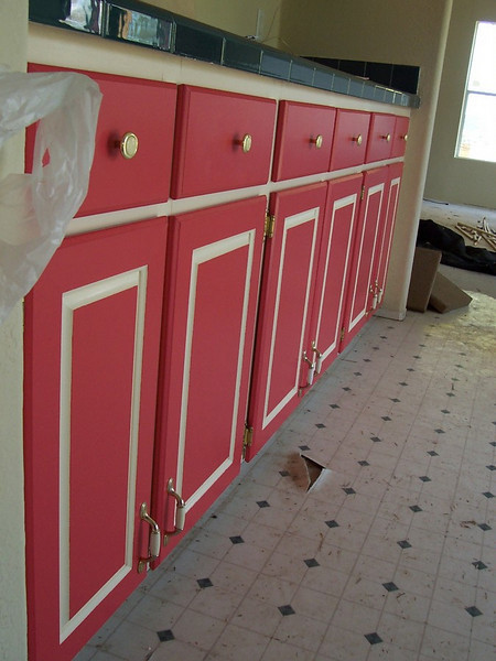 Some of the cabinet doors got put on upside-down on the first attempt at reinstallation.