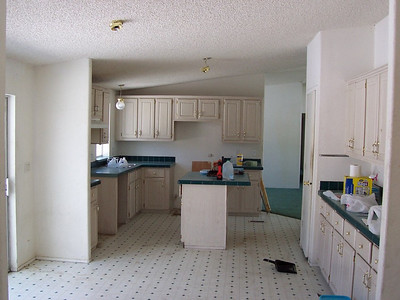 Pre-renovations: Kitchen cabinets and walls will be repainted and new vinyl flooring will be installed. All the appliances must be purchased and installed too.