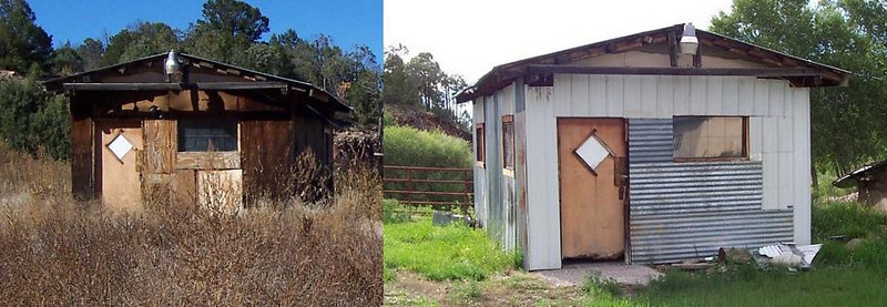 From the front: The large shed as it looked when we bought the property and another view after giving it a fresh look with salvage tin from the Habitat for Humanity ReStore. Chris had some fun with mixed and matched colors, types and directions with the tin sheets.