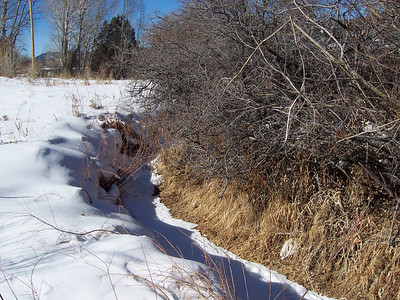 The acequia or irrigation ditch that flows through the low end of the property. The ditch doesn't run during the winter but will for most of the rest of the year.