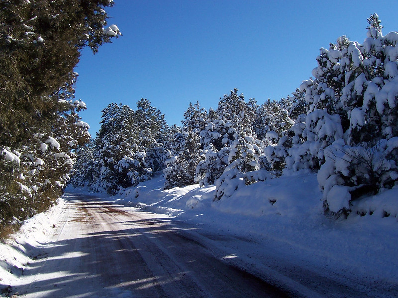 Snow along the road in front of the Vadito land (December 2007).