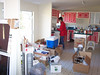 MOVING DAY: boxes piled in the kitchen.
