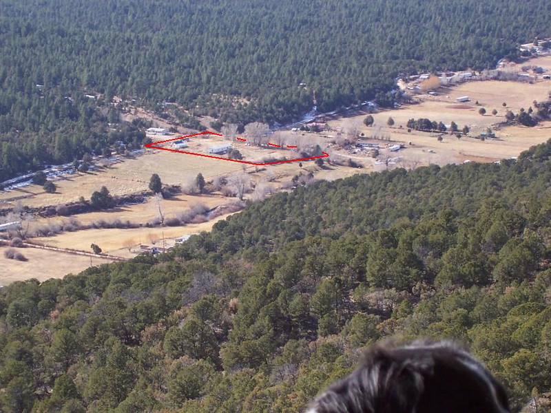 A closeup view of the property from the ridge.