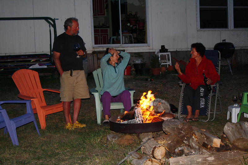 Enjoying the fire pit on a cool summer night with Caroline's sister, Els.