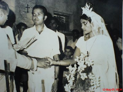 My sweet parents. My father Mr. P.J. Joseph and my mother MS. N.T. Mary on their wedding Day in Church