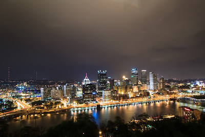Downtown Pittsburgh on a rainy evening