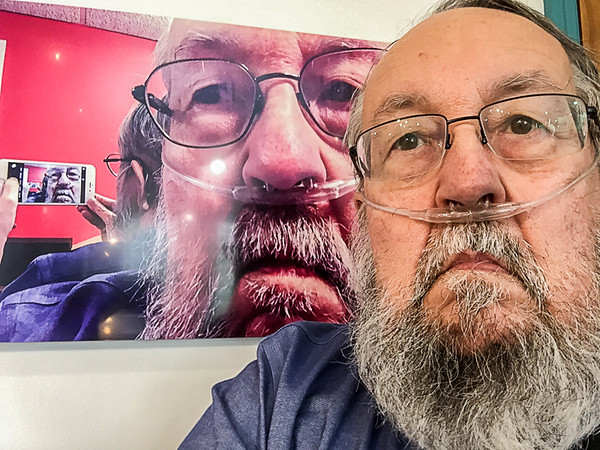 """Selfie of myself with my photo titled """"Selfie of myself taking a selfie of myself"""" on display at the Mohawk Gallery (2017 August)"""
