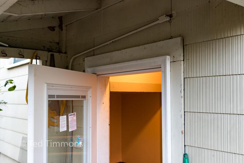 Brick mold in place around the door.